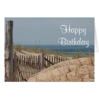 Sand dunes and weathered beach fence card