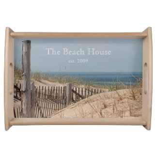 Sand dunes and weathered beach fences serving tray