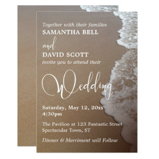 Sand & Foam Beach Photo & Typography Wedding 2 Card