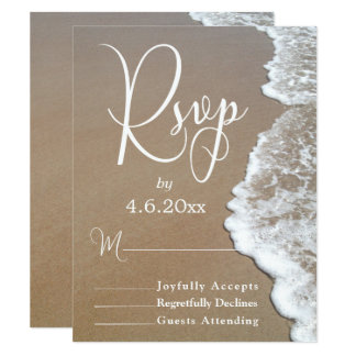 Sand & Foam Beach Photo/Typography Wedding RSVP 2 Card