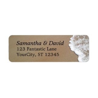 Sand & Foam Beach Photo Wedding Return Address Label