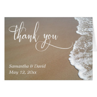 Sand & Foam Beach Wedding Typography Thank You 2 Card