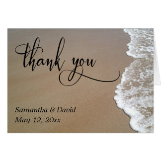 Sand & Foam Beach Wedding Typography Thank You Card