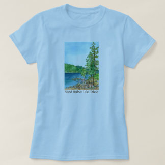 Sand Harbor Lake Tahoe Watercolor Art T-Shirt