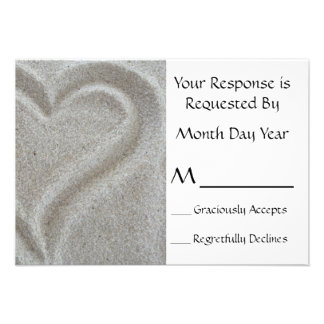 Sand Heart RSVP Card Personalized Invitation