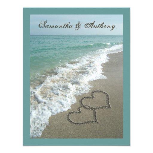 Sand Hearts~ Beach Destination Wedding Invitation