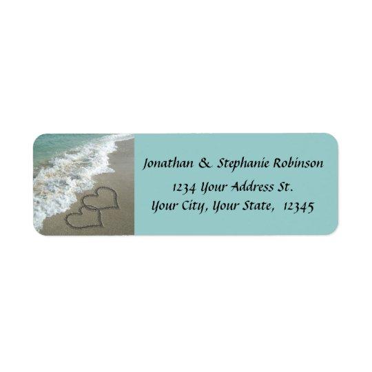 Sand Hearts Beach Return Address Label