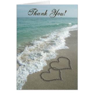 Sand Hearts on Beach, Thank You Cards