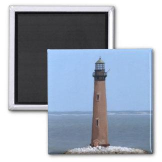 sand island lighthouse square magnet
