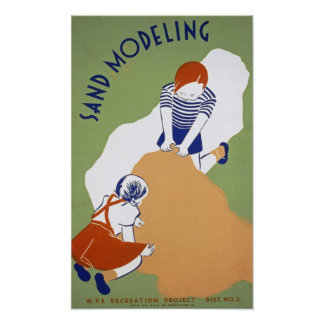 Sand Modeling Vintage Poster