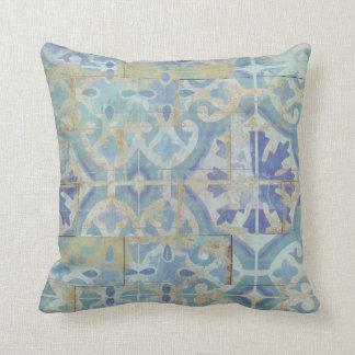 Sand n Sea Coastal Beach White Aqua Ocean Blue Art Cushion