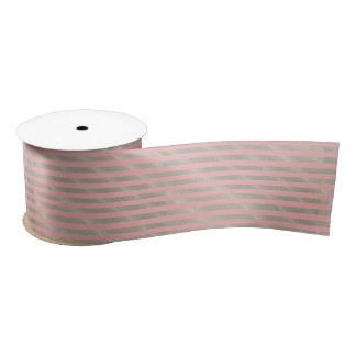 Sand on coral pink background satin ribbon