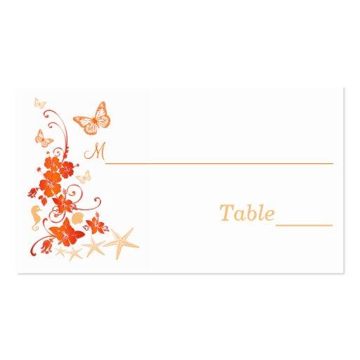 Sand, Orange, White Tropical Beach Place Card Business Card