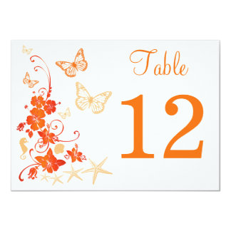 Sand, Orange, White Tropical Beach Table Number Card