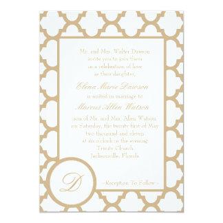Sand Quatrefoil Monogram Wedding Invitation