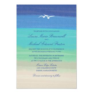 Sand, Sea & Seagulls   Painted Ocean Wedding 13 Cm X 18 Cm Invitation Card