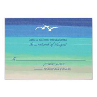 Sand, Sea & Seagulls   Painted Ocean Wedding RSVP 9 Cm X 13 Cm Invitation Card