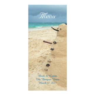 Sand Snowman Beach Wedding Menu Rack Card