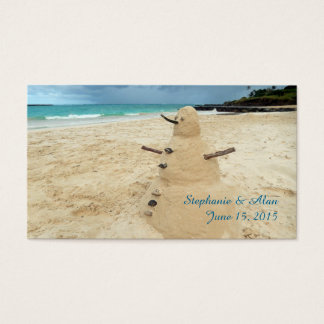 Sand Snowman Beach Wedding Place Cards