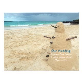 Sand Snowman Beach Wedding Program Flyers