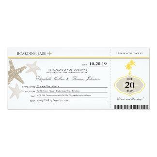 Sand Starfish Buttercream Palm Tree Boarding Pass Card