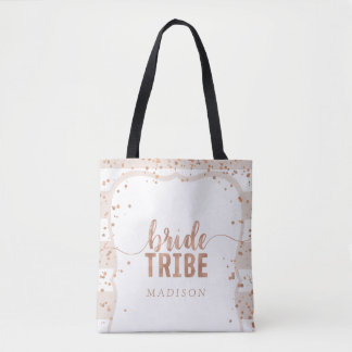 Sand Stripes & Rose Gold Confetti Bride Tribe Tote Bag