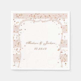 Sand Stripes & Rose Gold Confetti Monogram Wedding Disposable Serviette