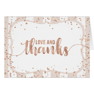 Sand Stripes & Rose Gold Confetti Thank You Card