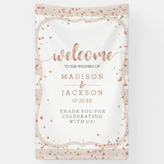 Sand Stripes & Rose Gold Confetti Wedding Welcome Banner