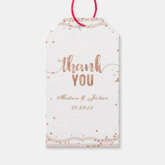 Sand Stripes & Rose Gold Wedding Love & Thanks Gift Tags