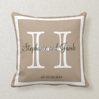 Sand tan taupe custom Wedding keepsake pillow