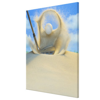 sand wedge hitting a golf ball out of a sand 2 canvas print