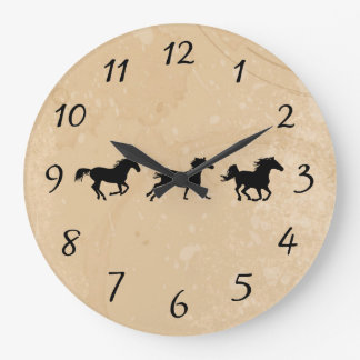 Sand Wild Horses Large Clock