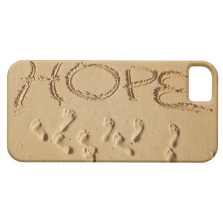 Sand writing ' Hope' on the beach with the iPhone 5 Covers