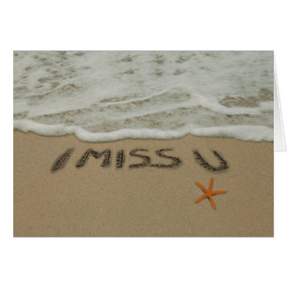 Sand Writing I Miss You at the Beach Card