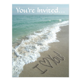Sand Writing on the Beach I Love You Invitations