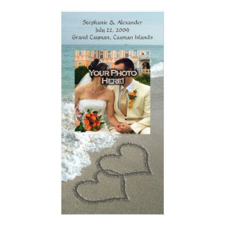 Sand Writing on the Beach, Interlocking Hearts Photo Card