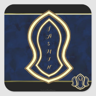 Sandal Of The Prophet (Blue) Marble & Gold Square Sticker