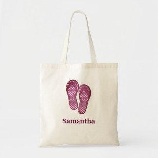 Sandals flip flop summer pink custom name tote bag