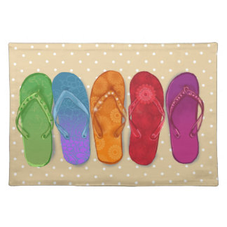 Sandals flip-flops beach party - sand dots placemat