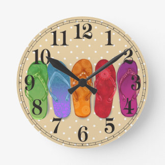 Sandals flip-flops beach party - sand dots round clock