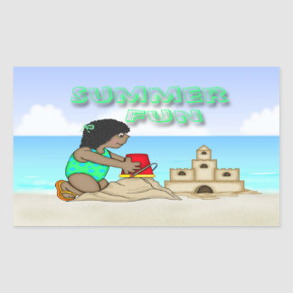 Sandcastle Black Girl Rectangle Stickers