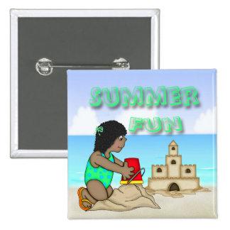 Sandcastle (Black Girl) Square Button