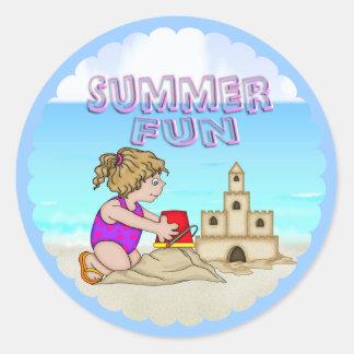 Sandcastle (Girl) Round Stickers