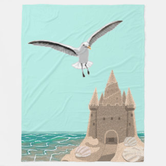 Sandcastle Seagull large fleece blanket