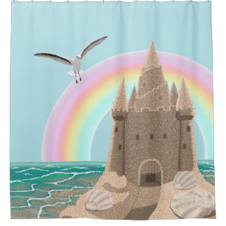 Sandcastle Seagull (rainbow) shower curtain