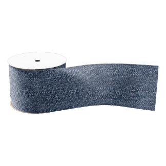 Sanded Blue Denim Grosgrain Ribbon