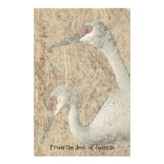 Sandhill Crane Bird Faux Handmade Paper Stationery