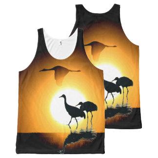 Sandhill Crane Birds Wildlife Animals Sun All-Over Print Singlet