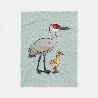 Sandhill Crane with Chick Fleece Blanket